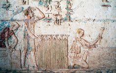 HARVEST, AGRICULTURAL SCENE, RELIEF FROM VESTIBULE OF TOMB OF PETOSIRIS, NECROPOLIS OF KHMUN (OR HERMOPOLIS), TUNA EL-GEBEL, EGYPT, EGYPTIAN CIVILIZATION, PTOLEMAIC KINGDOM, HELLENISTIC ERA