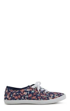 Deb Shops Low Top Sneaker with Small Floral Print $10.80