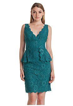 JS Boutique Sleeveless Allover Lace Peplum Sheath Dress