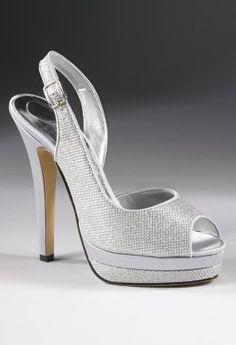 "High heel open toe platform sandal features:��1.25"" platform ��Adjustable back strap��Open toe sandal��Non skid sole��5"" high heel ��Sparkle glitter material��Medium width only"
