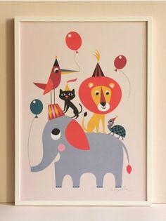 Animal Party Art Print, Ingela P Arrhenius