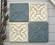 Your place to buy and sell all things handmade Tin Tiles, Tin Ceiling Tiles, Antique Tiles, Vintage Tile, Picture Wire, Blue Tiles, Tile Art, Handmade Wooden, Dresden