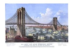 East River suspension bridge, Connect cities of New York & Brooklyn, large paddle wheeled steamer 1874.  NY0044 Vintage Print Art Poster Map