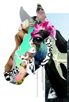 Jianping He (chino) Su expresión a través de collage.