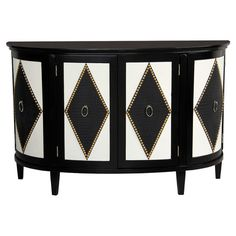 A harlequin motif makes a striking statement on this demilune Gallici Accent Chest by Pulaski Furniture, with the distinctive diamond pattern fashioned from black crocodile embossing, outlined with bright gold nailhead. White leather-like doors offer a co Pulaski Furniture, Cabinet Furniture, Accent Furniture, Painted Furniture, Home Furniture, Furniture Storage, Bedroom Furniture, Black Furniture, Furniture Ideas