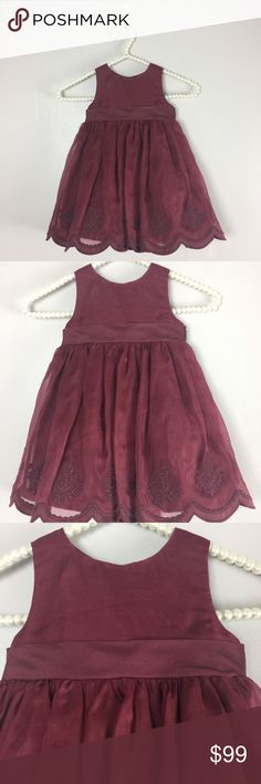 Janie and Jack Dress Janie and Jack 12-18 Months Special occasion Maroon Embroidered Silk Dress   Maroon silk dress with organza skirt embroidered with roses.  Fully lined with tulle ruffle for added fullness. Janie and Jack Dresses