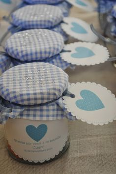 LOS DETALLES DE BEA                                                                                                                                                                                 Más Baby Boy Baptism Outfit, Baby Food Jar Crafts, Kitchen Ornaments, Ideas Para Fiestas, Jar Gifts, Newborn Gifts, Holidays And Events, Little Gifts, Baby Boy Shower