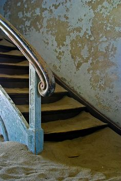 Kolmanskop........Handrail. Abandoned Diamond Mine in Africa.