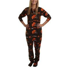 Cleveland Browns Highlight Ladies Microfleece Union Suit - Brown