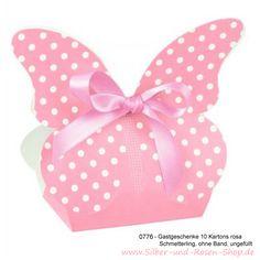 Gastgeschenke Kartonage Schmetterling rosa - 10 Stück