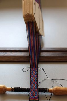"""Beautiful card woven band in progress.  This is the work of KurtFML who posts some of his work on Flickr.  He notes on this one """"6Threads Per Tablet"""""""