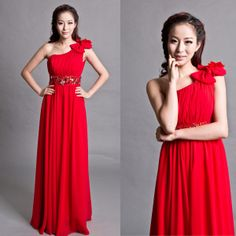 Free Shipping One shoulder elegant red long design formal dress bride evening dress formal dress costume evening dress