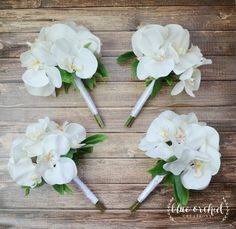 White orchid bridesmaid bouquets. Perfect for tropical, beach, or destination weddings. Petite bridesmaid bouquet, white bridesmaid bouquet, orchid bouquet, silk wedding bouquets, silk orchids, by blueorchidcreations on Etsy