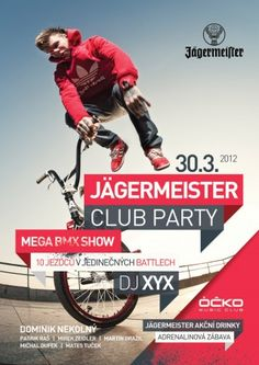 Jagermeister club party / Flyer / Design  Do flyers count as infographics? I like the colors and the layout, and I think they work for branding Jaeger even though it's not Jaegermeister colors. The colors probably work because it coincides with BMX too.