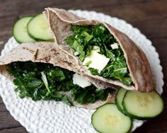 Lunch Recipe: Whole Wheat Pita with Kale & Asiago