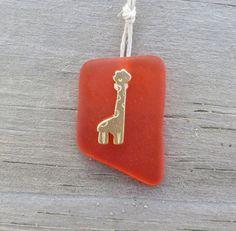 Orange Sea Glass Giraffe Charm Necklace by WaveofLife on Etsy, #RT