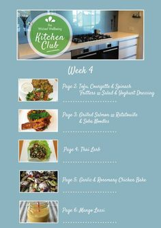 #kitchenclub Kitchen Club, Thai Larb, Garlic Rosemary Chicken, Soba Noodles, Lassi, Grilled Salmon, Fritters, Baked Chicken, Tofu