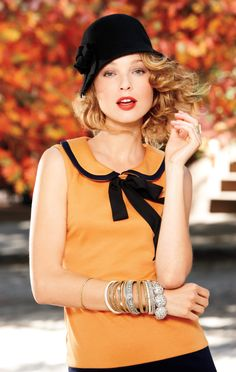 Femme Fatale: Pile on the feminine charm with a cloche, Peter Pan collar, bow and armful of bracelets. #ThePlaylist #FallTrend #Kohls