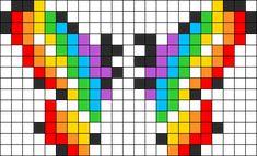 3D Rainbow Butterfly Perler Bead Pattern / Bead Sprite