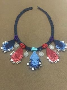 This Pin was discovered by Gül Macrame Jewelry, Fabric Jewelry, Bead Crochet, Crochet Necklace, Crochet Accessories, Jewelry Accessories, Crochet Ornaments, Jewelry Patterns, Crochet Flowers