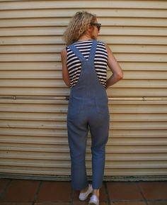 Sew Tessuti - 100% linen Turia Dungarees by Pauline Alice