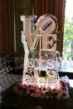 LOVE w Monogram Ice Luge Ice Sculpture