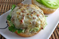 Salsa Verde Turkey Burger- Very delicous, It was alot of food! I couldn't even finish a burger by myself! Salsa Verde, Turkey Burger Recipes, Turkey Burgers, Turkey Sliders, I Love Food, Good Food, Yummy Food, Sandwiches, Cooking Recipes