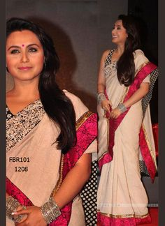 Fabboom New Rani Latest Cream Party Wear Saree. Rs 1960/-