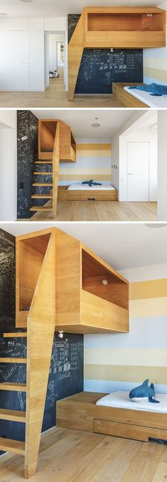 In this kids bedroom, there's a 'nest', an elevated wooden box or cubby that looks out over the rest of the bedroom and gives the children a quiet place to play. Loft Bedroom Kids, Mezzanine Bedroom, Bedroom Small, Kids Bedroom Designs, Bedroom Rustic, Bedroom Modern, Bed Designs, Cozy Bedroom, Kid Bedrooms