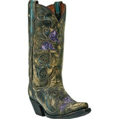 Dan Post Women's Cambria Western Boot,Tan/Purple,9.5 B US, Dan Post handcrafts this gorgeous cowgirl boot for a modern western fashionista This boot features a distressed leather foot with colorful butterfly and scroll inlays under a matching 12 leather shaf..., #Apparel, #Boots