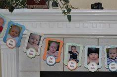Birthday Decoration, First Birthday Photo Banner, Custom Theme, Party Decor, First Boy Birthday, Girl Birthday. $31.50, via Etsy.