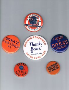 CHICAGO BEARS FOOTBALL PIN lot of (6) :  DITKA's ,SUPER BOWL XX , PAPA BEAR