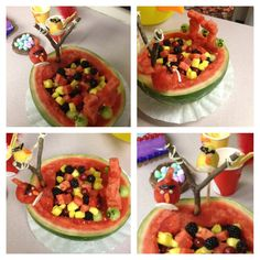 Angry Bird Themed Party Idea-  cut out square in watermelon and use it as a fruit bowl.  My friend used melon balls, for the birds and cut watermelon into squares for the blocks. Use tooth picks to  keep everything in place!  :)