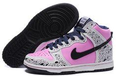 Exclusive Nike Dunk SB High Top Sneakers For Women Bubblegum Custom Pink  White Black Nike Casual a5cbbf0b6