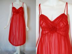 1960s Rogers Red Nightgown 34 Small Medium by IntimateRetreat