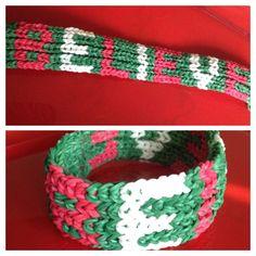 "Holiday ""Believe"" Rainbow Loom bracelet."