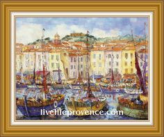 Decorate and Enjoy your Home with Provencal Fine artwork with Original Marina	(Le 	Port de Saint-Tropez) by renowned French Artist Philippe GIRAUDO. 	www.livelifeprovence.com #llprovence Fine Artwork, Painting, Artwork, French Artists, Original Artwork