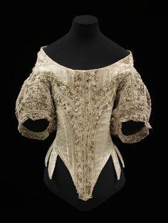 Bodice, England, 1660-1669. Various materials: whale bone, silk...