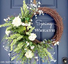 Spring Wreath - Plan to paint my front door this color blue and will definitely have a beautiful spring arrangement to celebrate my 1st spring here