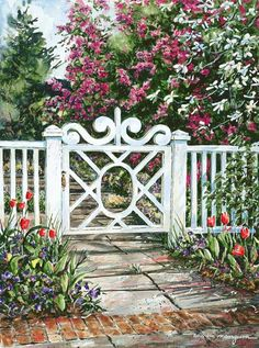 William Mangum Fine Art An intricately designed white gate provides an entryway to a garden full of blooms. The garden is located in Wilmington, NC. Garden Gates And Fencing, Garden Paths, Garden Art, Garden Design, Picket Fence Gate, White Picket Fence, Creation Photo, Iron Gates, Entrance Gates