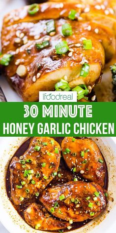 How to Make Easy Honey Garlic Chicken at home! Chicken breasts or thighs are baked in the oven and then smothered in 5 Ingredient healthy honey garlic sauce. It is amazing chicken recipe to have as a backup plan for dinner! Baked Honey Garlic Chicken, Healthy Baked Chicken, Easy Chicken Dinner Recipes, Garlic Chicken Recipes, Chicken Breast Recipes Healthy, Baked Chicken Breast, Easy Healthy Recipes, Chicken Breasts, Chicken Garlic Sauce