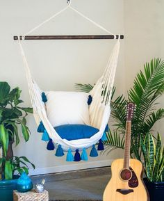 Turquoise Hammock Chair with Tassels- Boho style hammock swing chair - Indoor and Outdoor Hanging Chair - Macrame indoor hammock chair Indoor Hammock Chair, Indoor Swing, Outdoor Hammock, Porch Swing, Indoor Outdoor, Hammock Ideas, Outdoor Rooms, Outdoor Living, White Pillow Covers