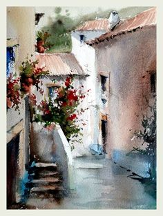 www.joaocabral.net Watercolor Sketchbook, Watercolor Landscape Paintings, Watercolor Artists, Watercolor And Ink, Watercolour Painting, Watercolor Architecture, Ink In Water, Traditional Paintings, Beach Art