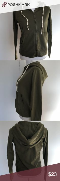 J. Crew army green zip up hoodie size small Excellent condition! I love the color, this is a great basic for every wardrobe. J. Crew Factory Tops Sweatshirts & Hoodies