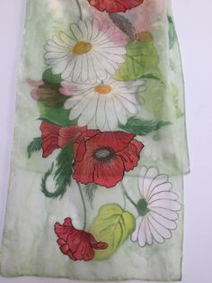 Silk chiffon shawl 45 x 150 cm/ 21 x 60 in. Handpainted poppies and daisies Painted Silk, Hand Painted, Fabric Painting, Silk Chiffon, Daisies, Scarfs, Poppies, Unique Jewelry, Handmade Gifts