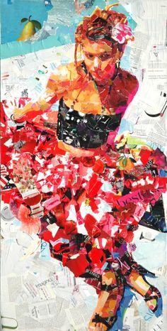 Summer By The Pool - Recycled Magazine Collage Art by Derek Gores