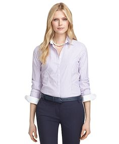 Non-Iron Tailored Fit Thin Wide Stripe Dress Shirt Viola