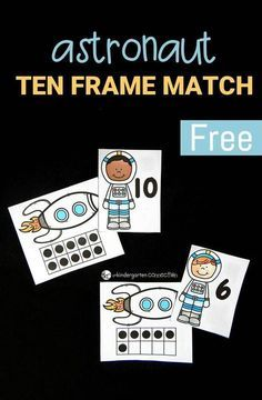 Explore numbers and ten frames with this fun and free astronaut ten frame match Perfect for PreK and Kindergarten math Space Preschool, Space Activities, Preschool Activities, Math Games For Preschoolers, Ten Frame Activities, Numbers Kindergarten, Teaching Kindergarten, Kindergarten Units, Math For Kids