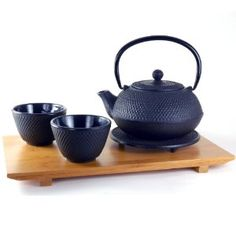 Cast Iron Tea Set with Bamboo Tray