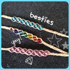 Friendship Bracelets/anklets These are twine friendship bracelets. You are supposed to make a wish on the beads and when the bracelet is worn without taking off so  that the beads fall off and your wish is supposed to come true. About 12 inches long can be anklets or bracelets. Handmade Jewelry